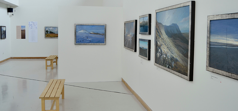 Ramsay Gibb's paintings hanging in Woodhorn Museum, Ashington.