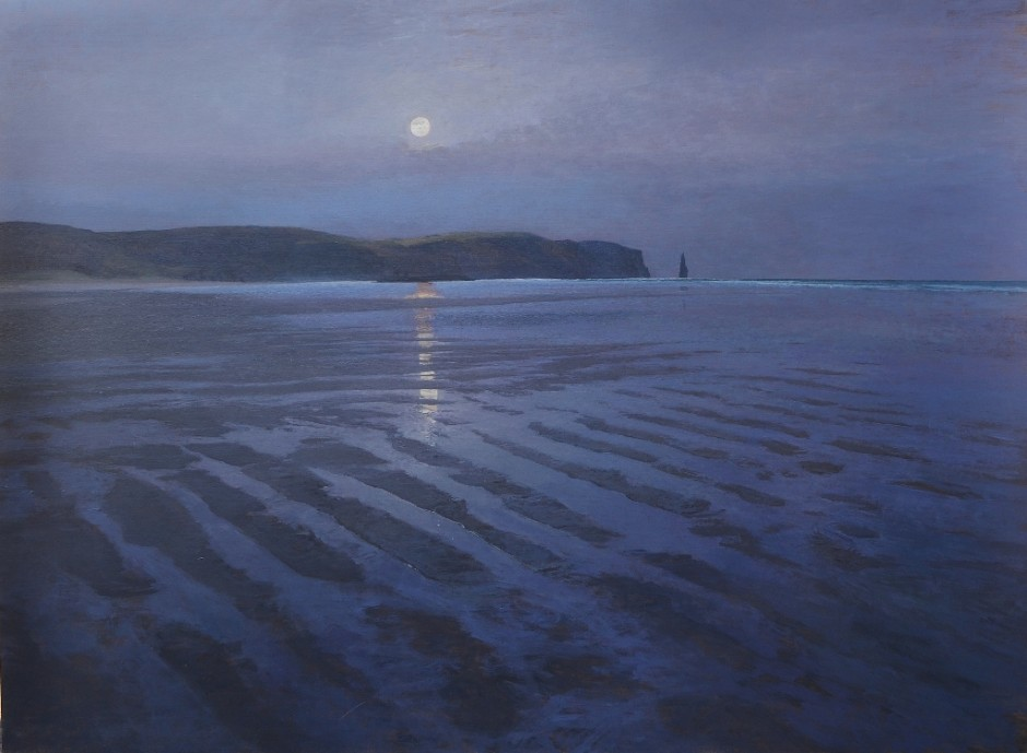 Moon setting, Sandwood Bay, Sutherland.