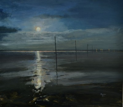 Full Moon and Tide's turn A Night journey to Lindisfarne.